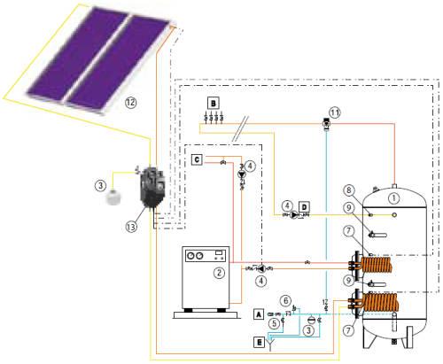 Схема подключения бойлера косвенного нагрева.